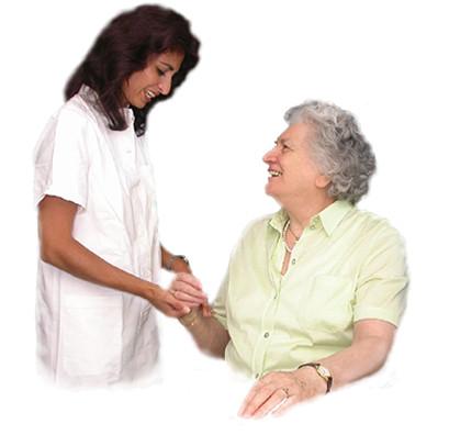 Pflegerin versorgt sie medizinisch nach Anleitung